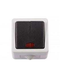 Блок двойной выключатель с подсветкой Luxel DEBUT (6506)