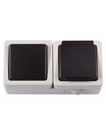 Блок выключатель + розетка с/з и крышкой Luxel DEBUT (6532)