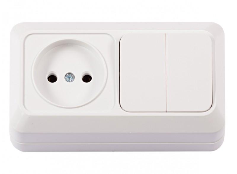Блок розетка + двойной выключатель OPERA (2033) белый
