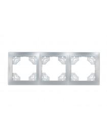 Рамка 3-я горизонтальная BRAVO (5523) серебро