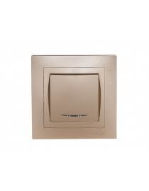 Выключатель с подсветкой Luxel BRAVO (5605) платиновый