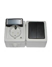 Блок двойной выключатель + розетка с/з и крышкой DEBUT