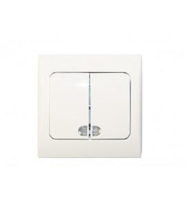 двойной выключатель с подсветкой FAIRY (4006) белый