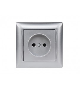 Розетка одинарная PRIMERA (3501) серебро