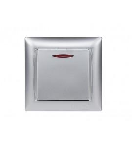 Выключатель с подсветкой PRIMERA (3505) серебро
