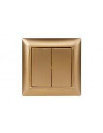 Выключатель двойной Luxel PRIMERA (3603) золотой