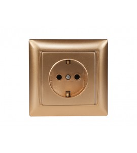 Розетка с заземлением PRIMERA (3604) золото