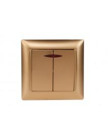 Выключатель двойной с подсветкой Luxel PRIMERA (3606) золотой