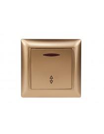 Выключатель проходной с подсветкой Luxel PRIMERA (3616) золотой