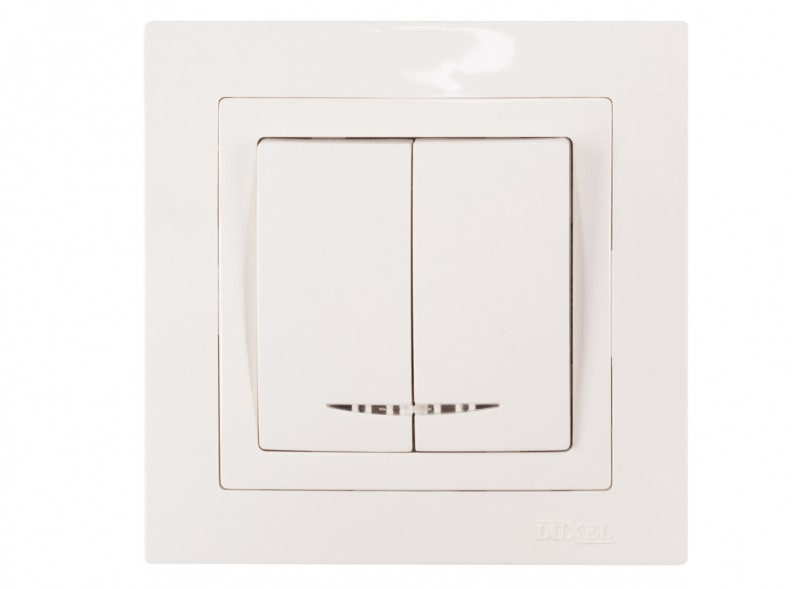 Выключатель двойной с подсветкой BRAVO (5006) белый
