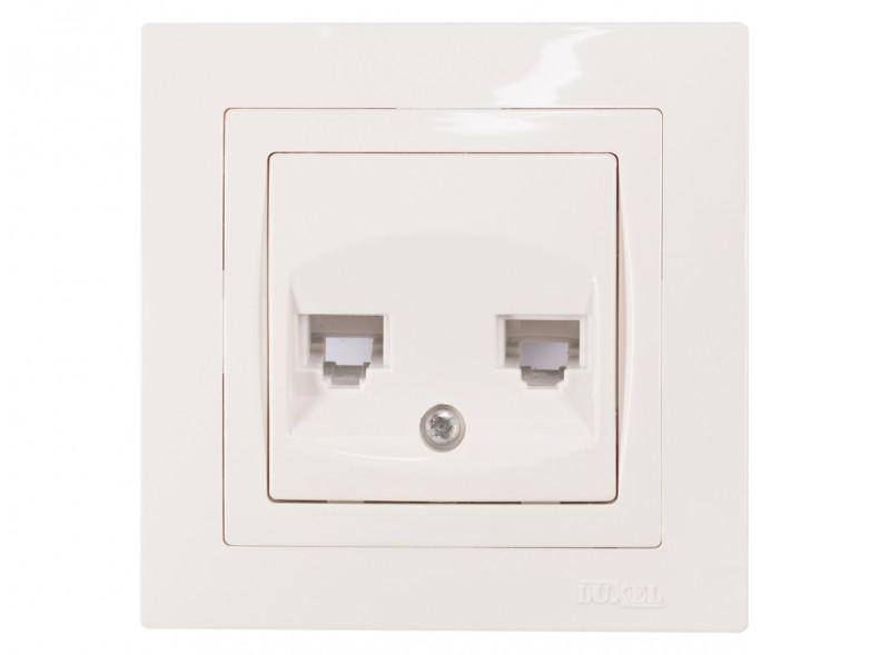 Розетка телефонная двойная BRAVO (5014) белый