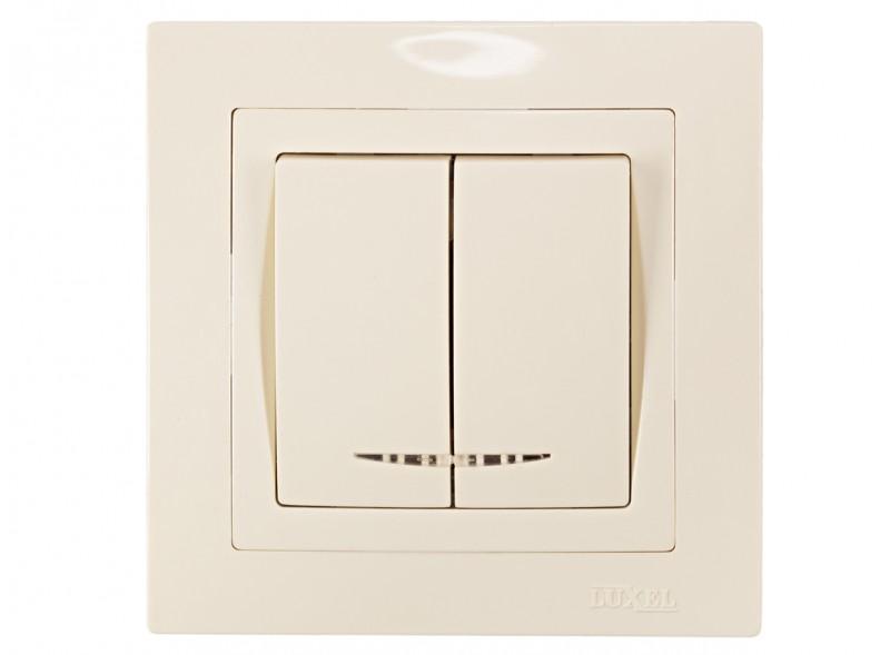 Выключатель двойной с подсветкой BRAVO (5306) крем