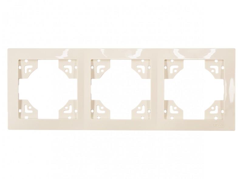 Рамка 3-я горизонтальная BRAVO (5323) крем