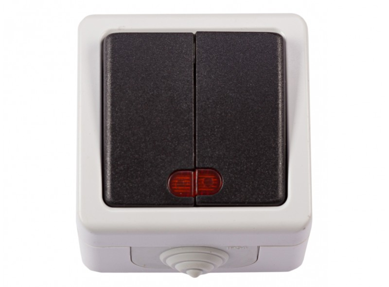 Блок двойной выключатель с подсветкой DEBUT (6506)