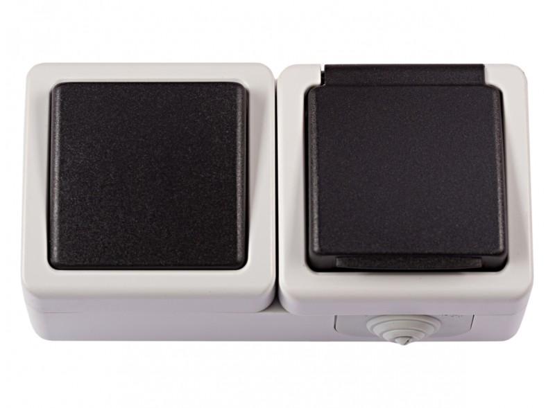 Блок выключатель + розетка с/з и крышкой DEBUT (6532)