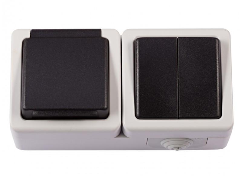 Блок двойной выключатель + розетка с/з и крышкой DEBUT (6533)