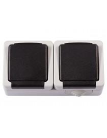 Блок розетка с/з и крышкой + розетка с/з и крышкой Luxel DEBUT
