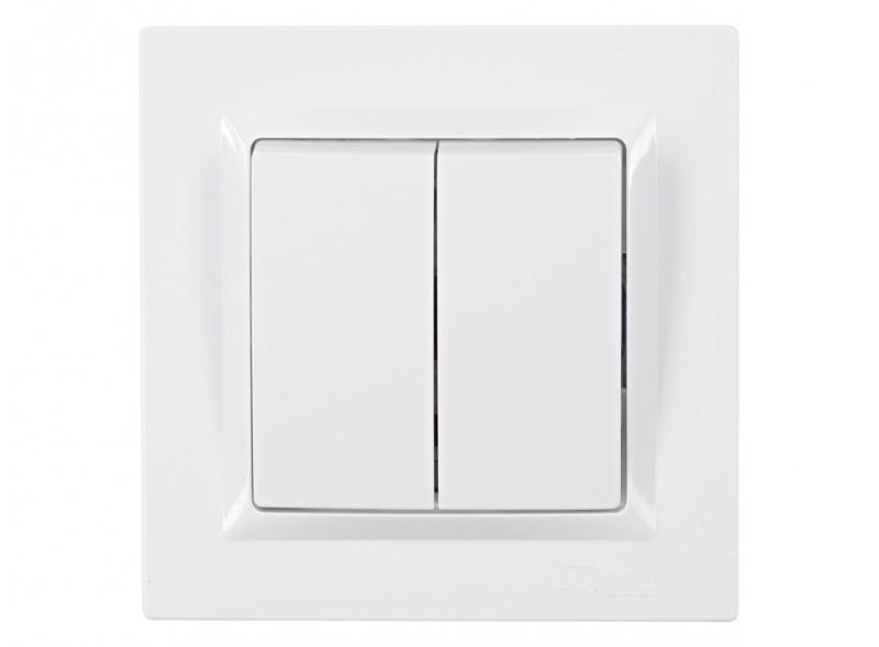 Выключатель двойной JAZZ (9003) белый