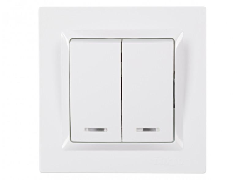 Выключатель двойной с подсветкой JAZZ (9006) белый
