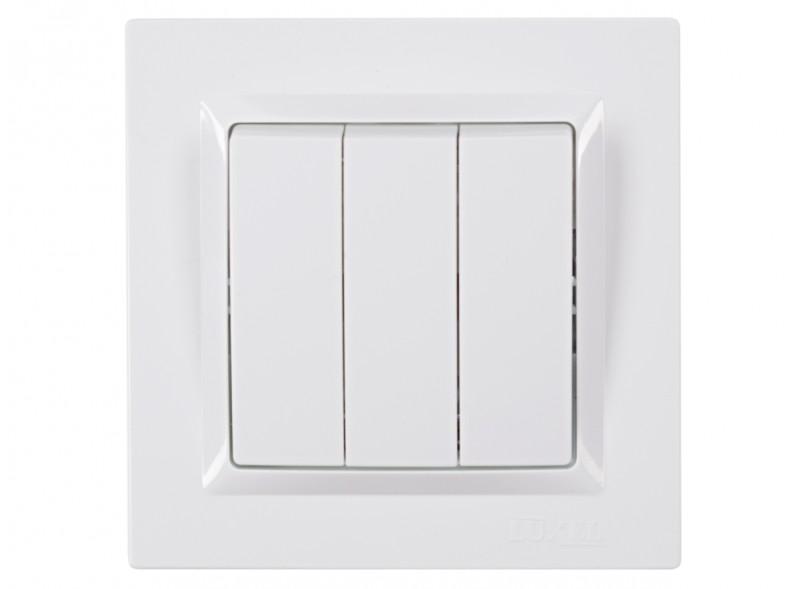 Выключатель тройной JAZZ (9013) белый