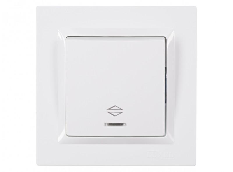 Выключатель проходной с подсветкой JAZZ (9016) белый