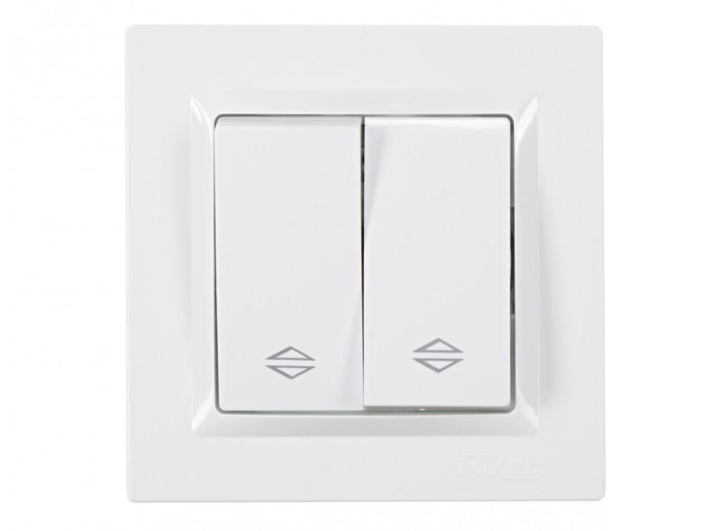 Выключатель проходной  двойной JAZZ (9019) белый