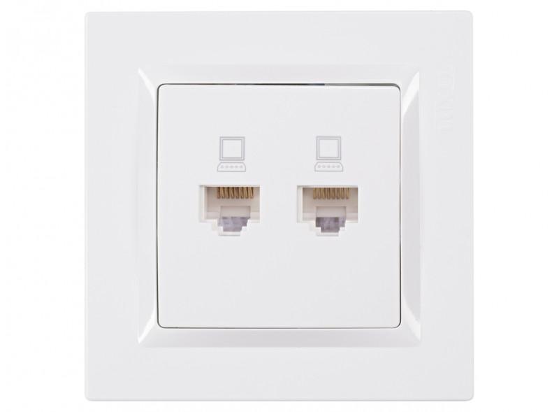 Компьютерная розетка двойная JAZZ (9028) белый