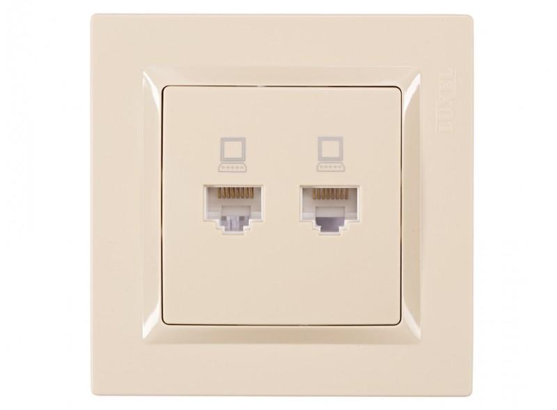 Компьютерная розетка двойная JAZZ (9328) крем
