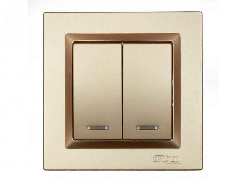 Выключатель двойной с подсветкой Luxel JAZZ (9606) Бронзовый