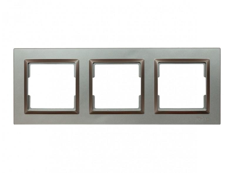 Рамка 3-я горизонтальная Luxel JAZZ (9723) Графитовая