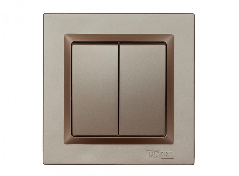 Выключатель двойной Luxel JAZZ (9203) Терракотовый