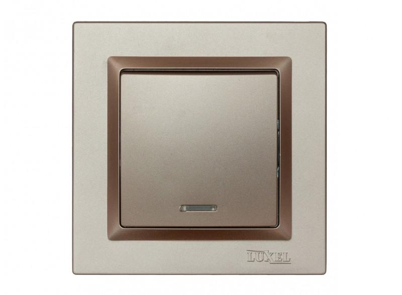 Выключатель с подсветкой Luxel JAZZ (9205) Терракотовый