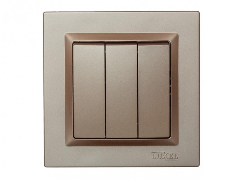 Выключатель тройной Luxel JAZZ (9213) Терракотовый