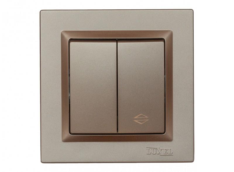 Выключатель проходной  двойной Luxel JAZZ (9219) Терракотовый