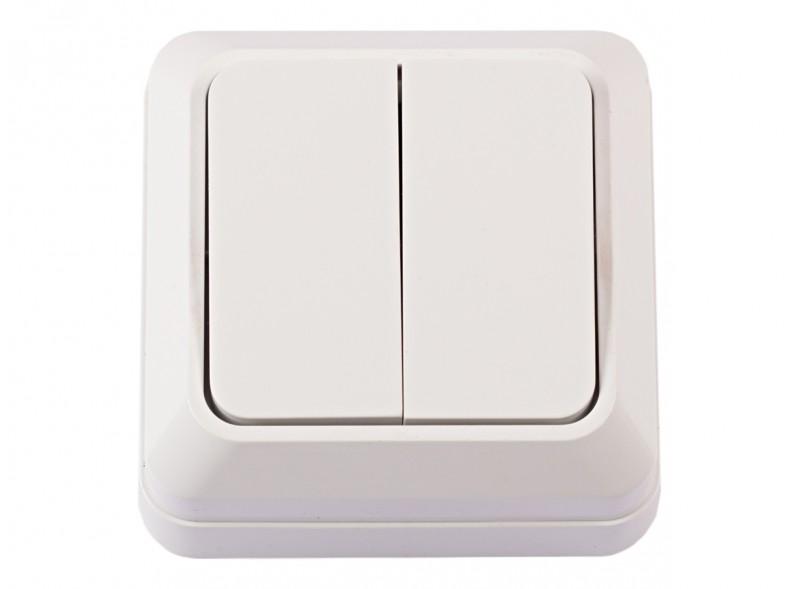 Наружный выключатель двойной OPERA (2003) белый
