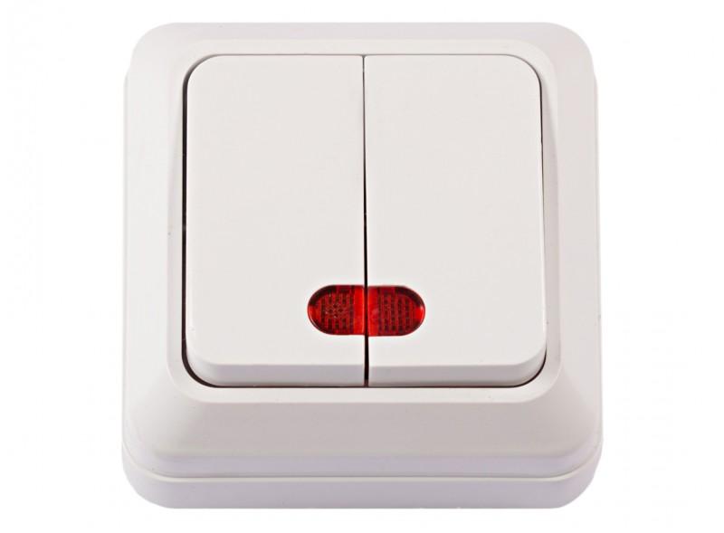 Наружный выключатель двойной с подсветкой OPERA (2006) белый
