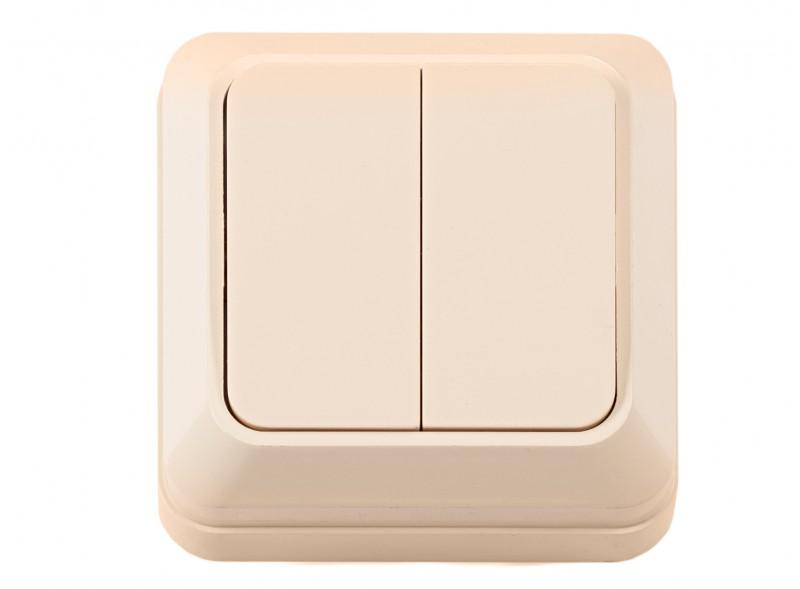 Наружный выключатель двойной OPERA (2303) крем