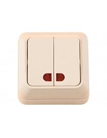 Наружный выключатель двойной с подсветкой Luxel OPERA (2306) кремовый