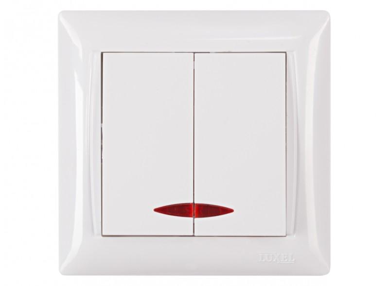Выключатель двойной с подсветкой PRIMERA (3006) белый