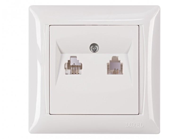 Розетка телефонная двойная PRIMERA (3014) белый
