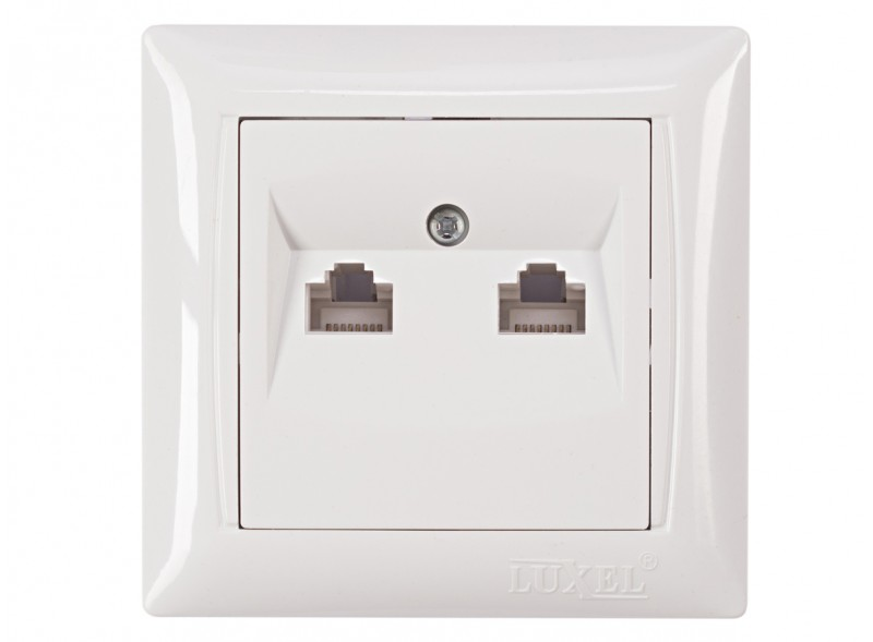 Компьютерная розетка двойная PRIMERA (3028) белый