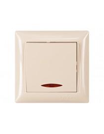 Выключатель с подсветкой Luxel PRIMERA (3305) кремовый