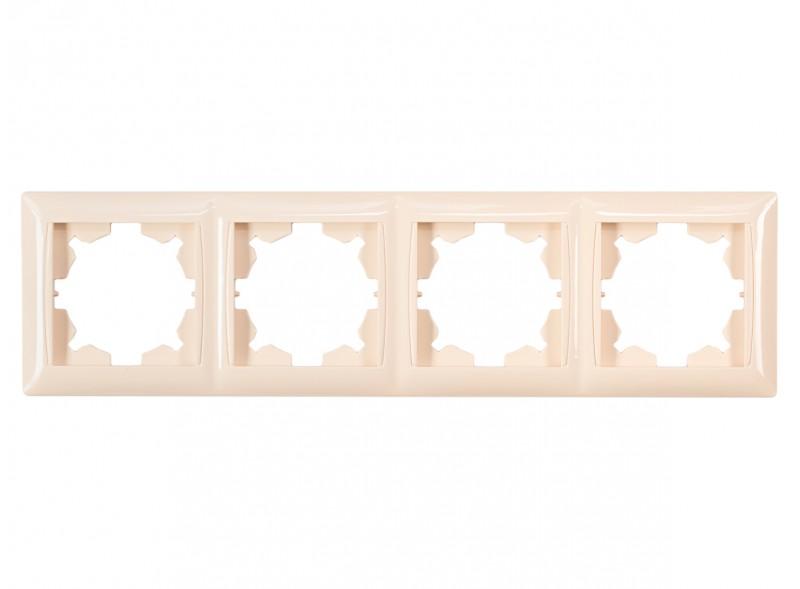 Рамка 4-я горизонтальная PRIMERA (3324) крем