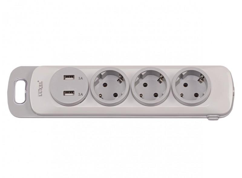Колодка Luxel Nota 3 розетки  с заземлением и выключателем +2 USB (4331)