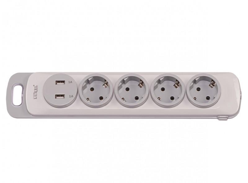 Колодка Luxel Nota 4 розетки  с заземлением и выключателем +2 USB (4351)