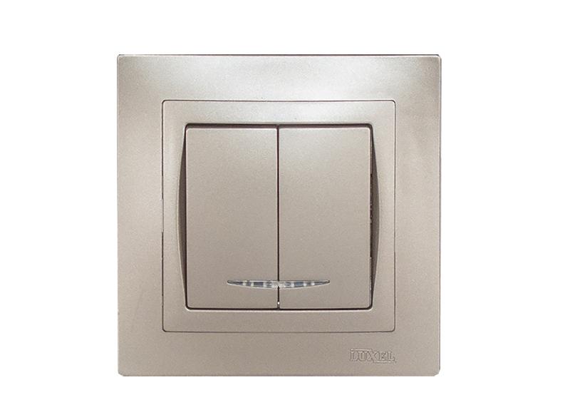 Выключатель двойной с подсветкой BRAVO (5406) антрацит