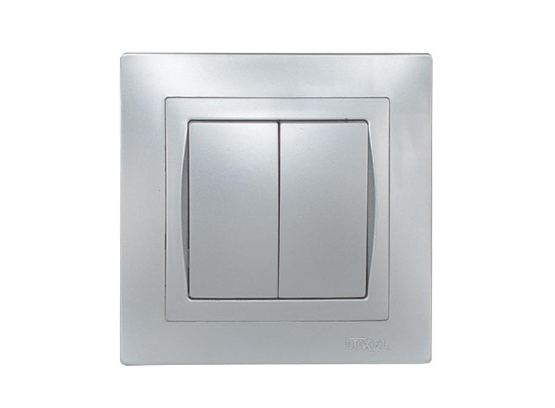 Выключатель двойной BRAVO (5503) серебро