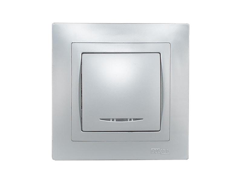 Выключатель с подсветкой BRAVO (5505) серебро