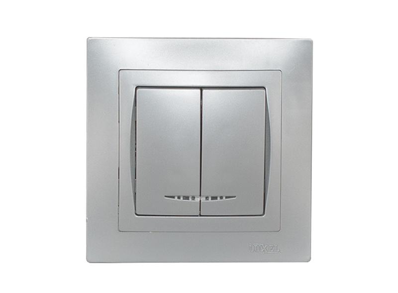 Выключатель двойной с подсветкой BRAVO (5506) серебро