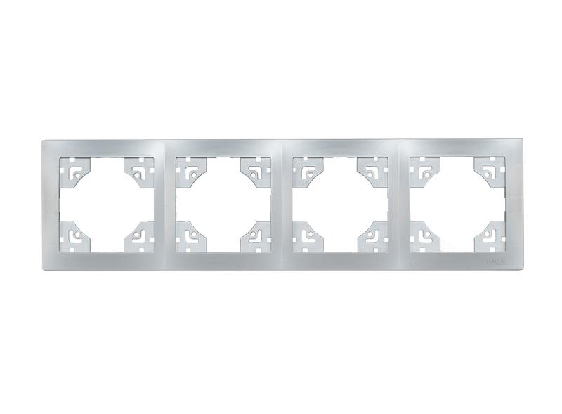 Рамка 4-я горизонтальная BRAVO (5524) серебро